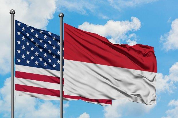 Bendera AS dan Indonesia