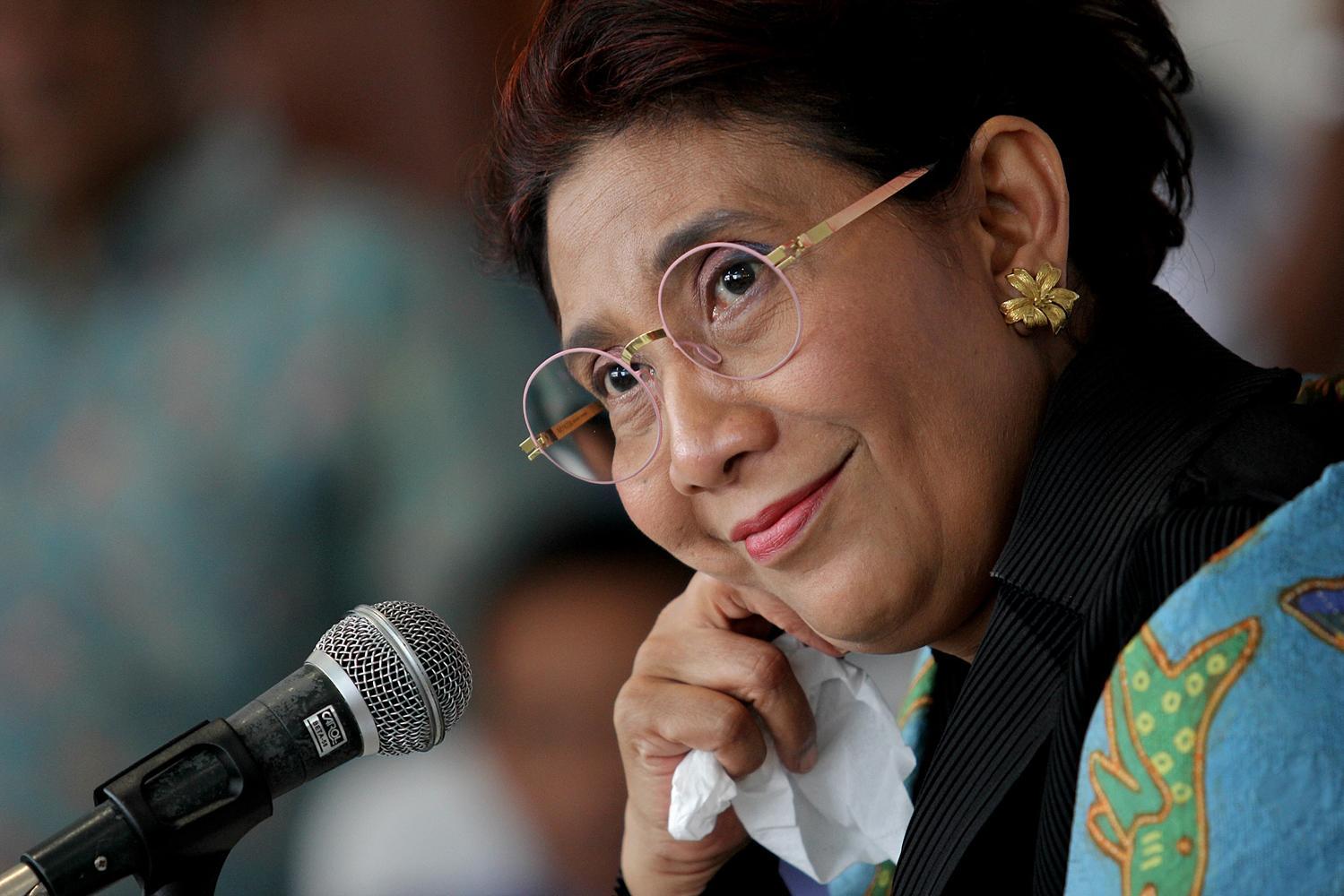 Menteri Kelautan dan Perikanan, Susi Pudjiastuti, di Jakarta, Senin, (22/02)