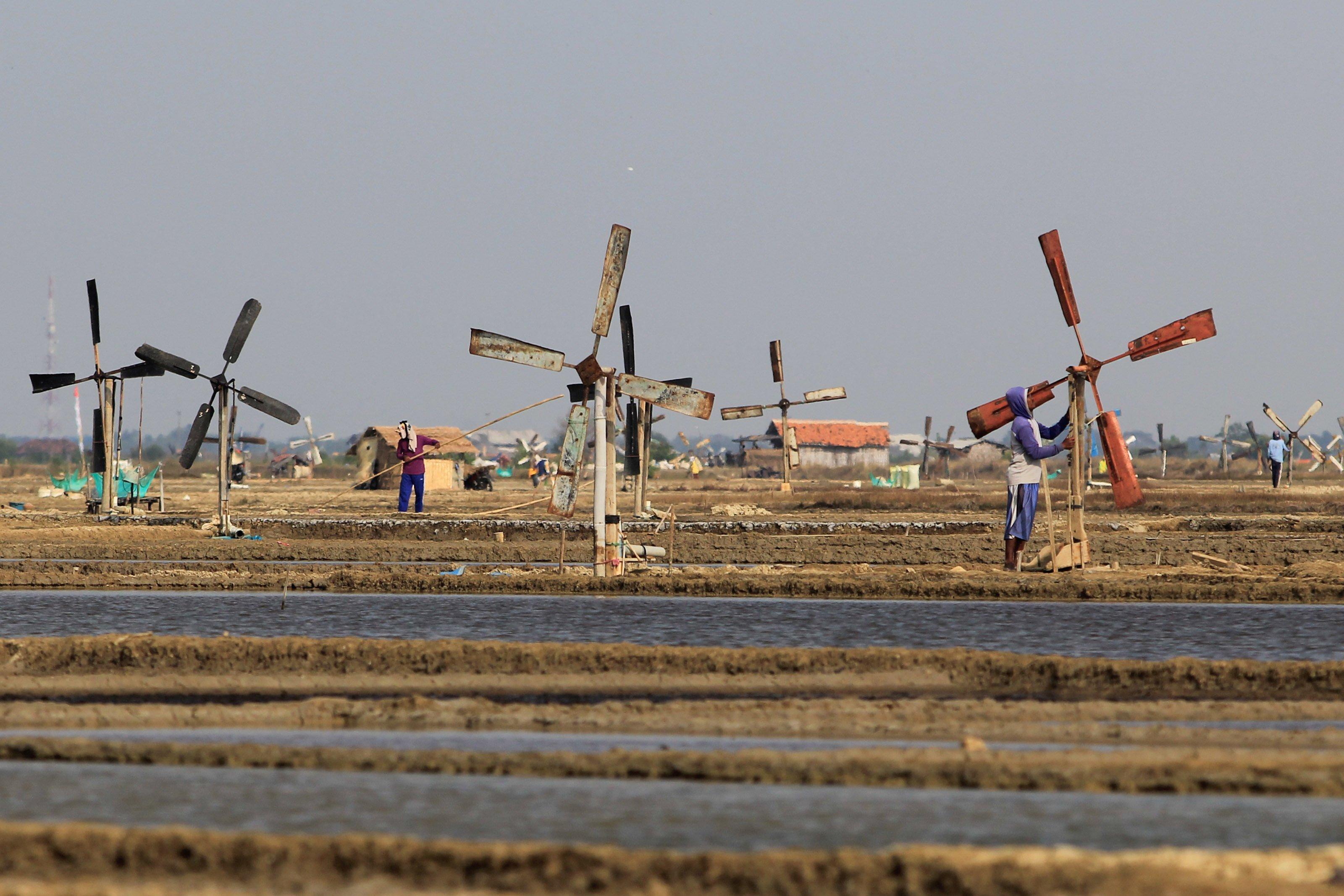 Petani tambak memperbaiki kincir anginn untuk memompa air laut kedalam tambak