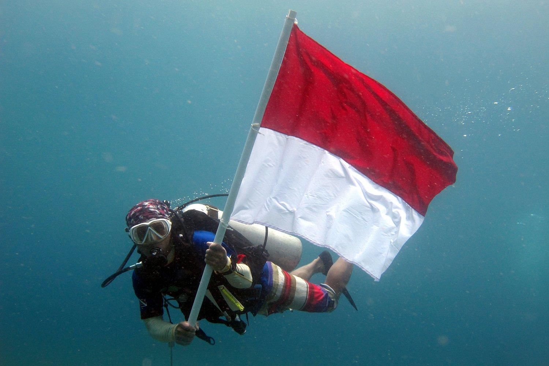 Seorang penyelam mengibarkan bendera Merah Putih di kedalaman 15 meter di Pantai Malalayang, Manado, Sulawesi Utara, Kamis (17/8). Kegiatan pengibaran bendera tersebut diikuti tidak kurang dari 100 penyelam dari berbagai komunitas untuk menyemarakkan HUT ke-72 RI.