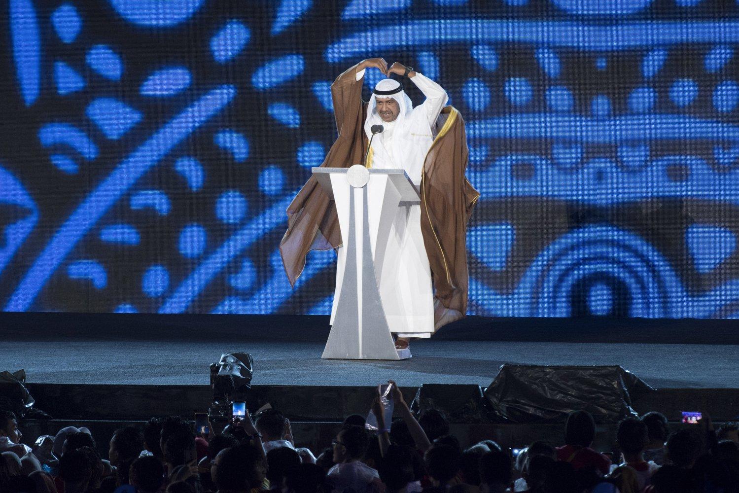 Presiden Dewan Olimpiade Asia (OCA) Sheikh Ahmad Al Fahad Al Sabah memberi sambutan dalam Upacara Penutupan Asian Games ke-18 Tahun 2018 di Stadion Utama GBK, Senayan, Jakarta, Minggu (2/9).