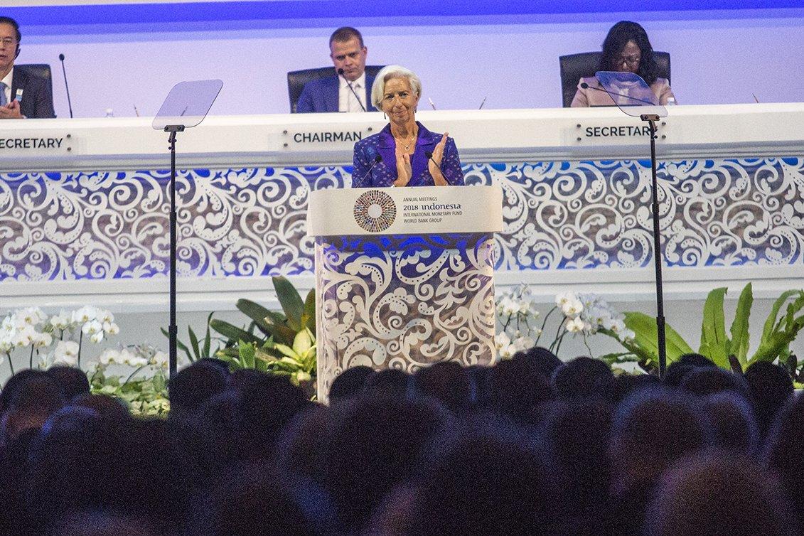 Direktur Pelaksana IMF, Christine Lagarde, juga menekankan pentingnya negara-negara bergerak bersama untuk menyelesaikan masalah-masalah multilateral. Lagarde menekankan konsep multilateralisme baru, yang terbagi menjadi dua dimensi. Pertama, dimensi moneter dan fiskal. Kedua, dimensi ketidaksetaraan (inequality), teknologi, dan kesinambungan (sustainability).