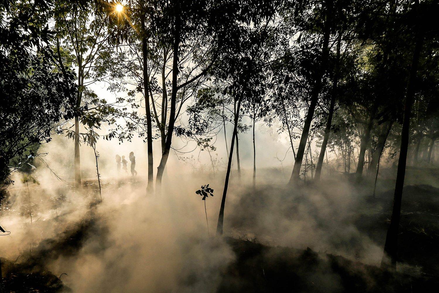 Sejumlah anak melintasi asap kebakaran lahan yang merambat ke kebun karet di Desa Soak Batok, Indralaya Utara, Ogan Ilir, Sumatera Selatan, Selasa (10/9/2019). Berdasarkan citra satelit Lapan terdapat 211 titik api di kawasan Sumatera Selatan.