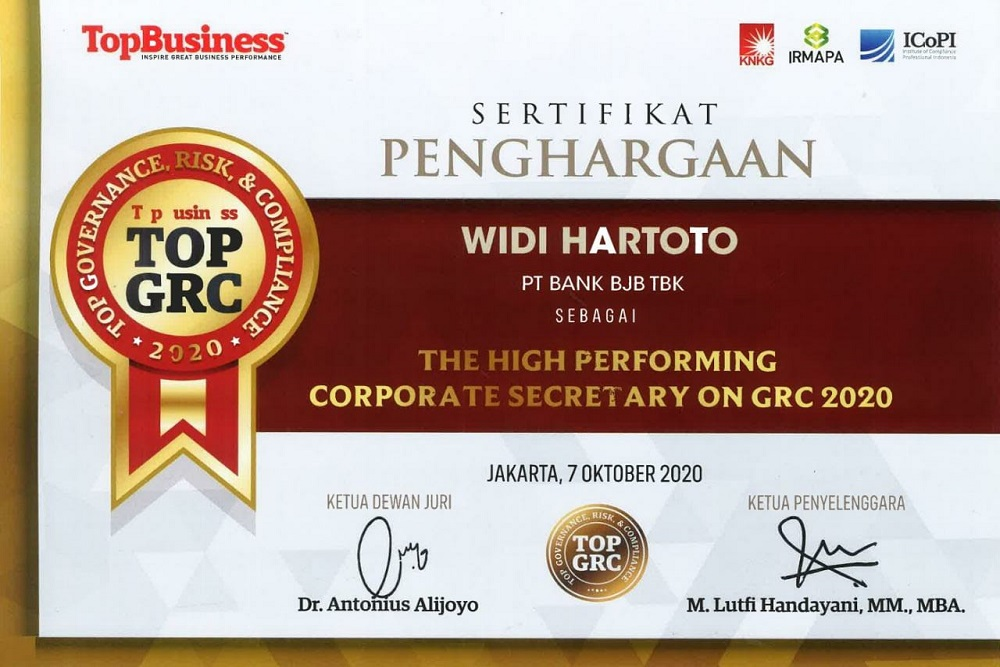 Penghargaan BJB The High Performing Corporate Secretary On GRC 2020