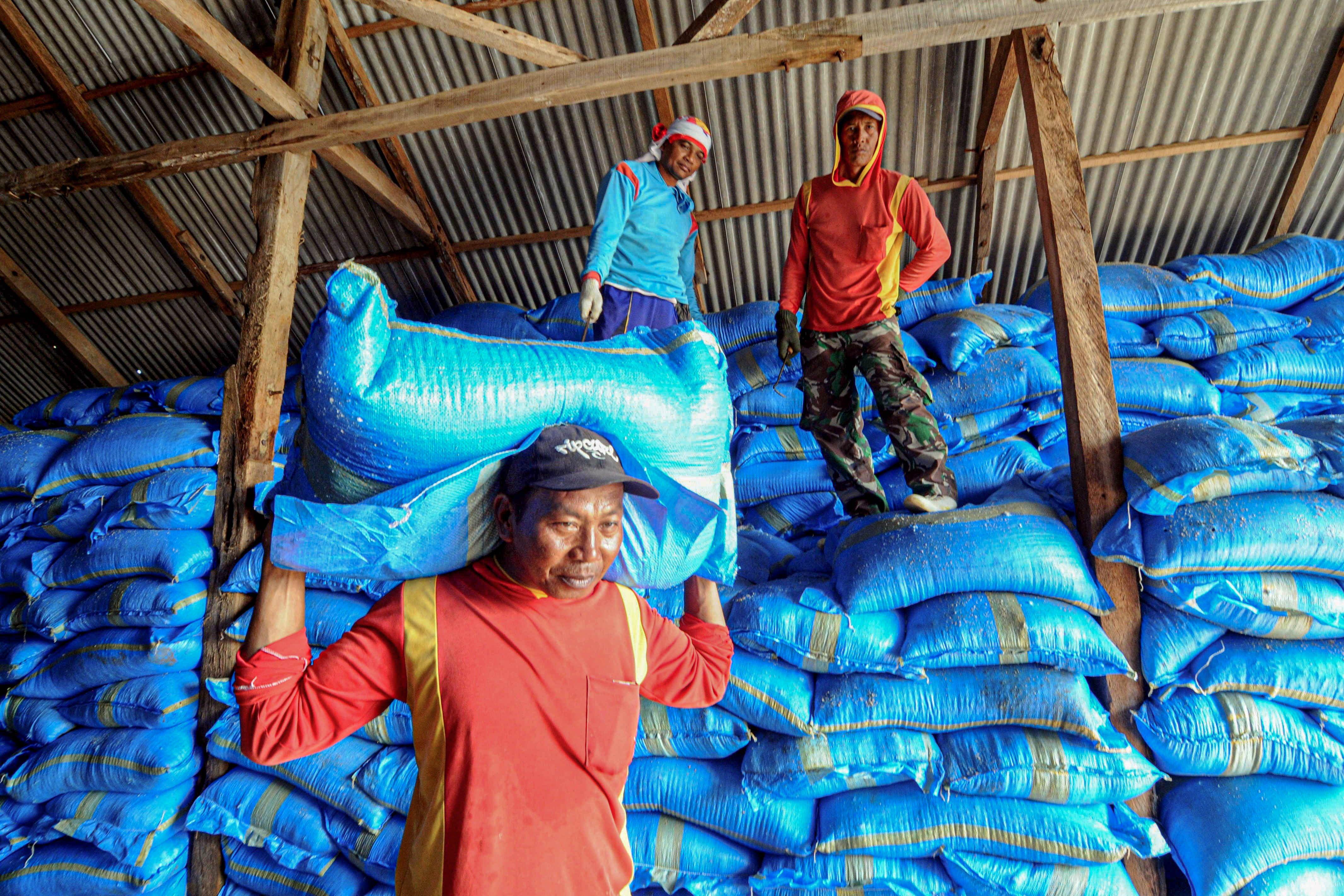 Pekerja memasukkan garam ke dalam gudang penimbunan di Desa Bunder, Pamekasan, Jawa Timur.\r\n