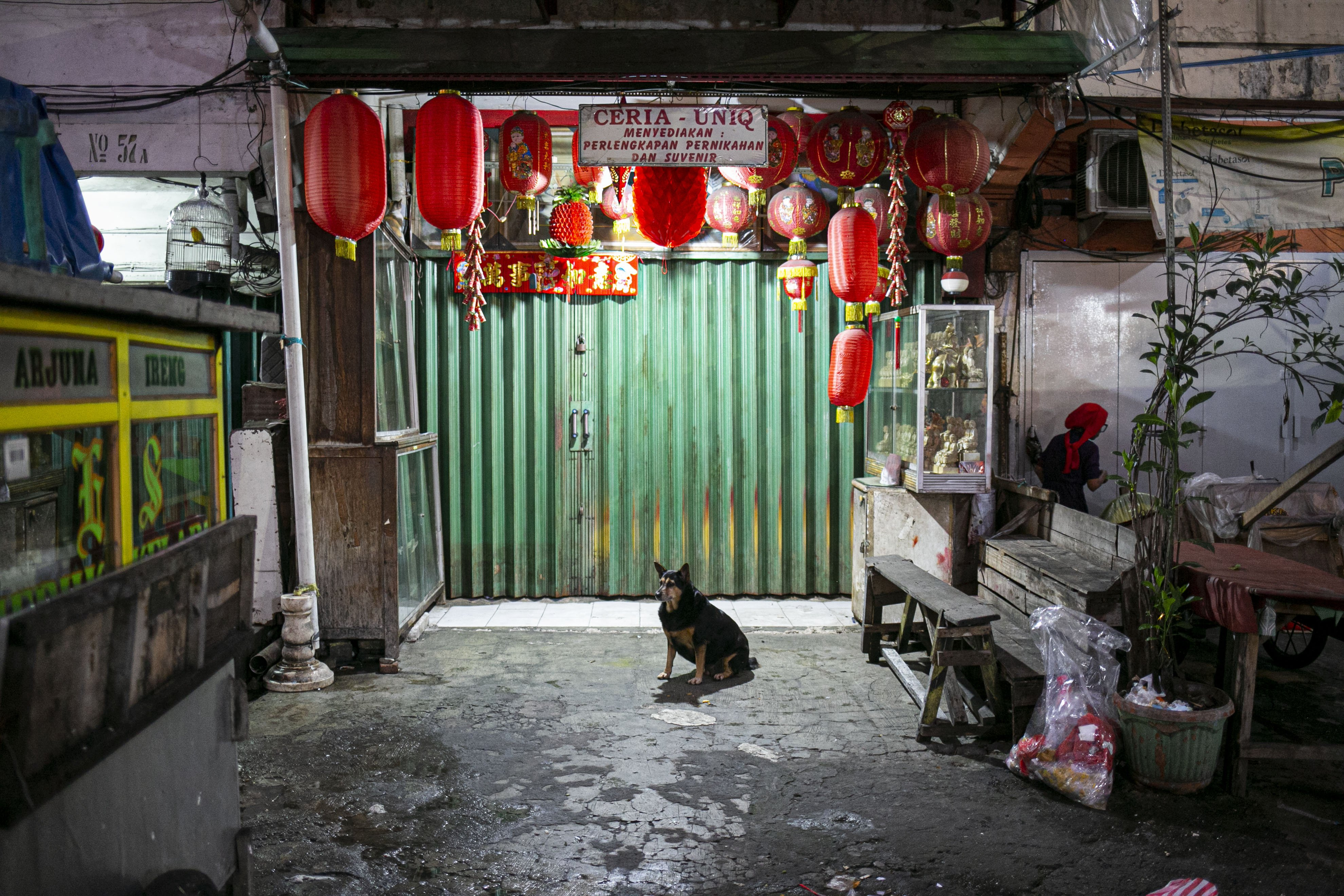 Toko suvenir khas imlek yang tutup lebih awal di Pasar Glodok, Jakarta, Kamis (11/2/2021). Pedagang di lokasi tersebut mengaku penjualan tahun ini anjlok hingga 80 persen dibandingkan tahun lalu akibat pandemi COVID 19.