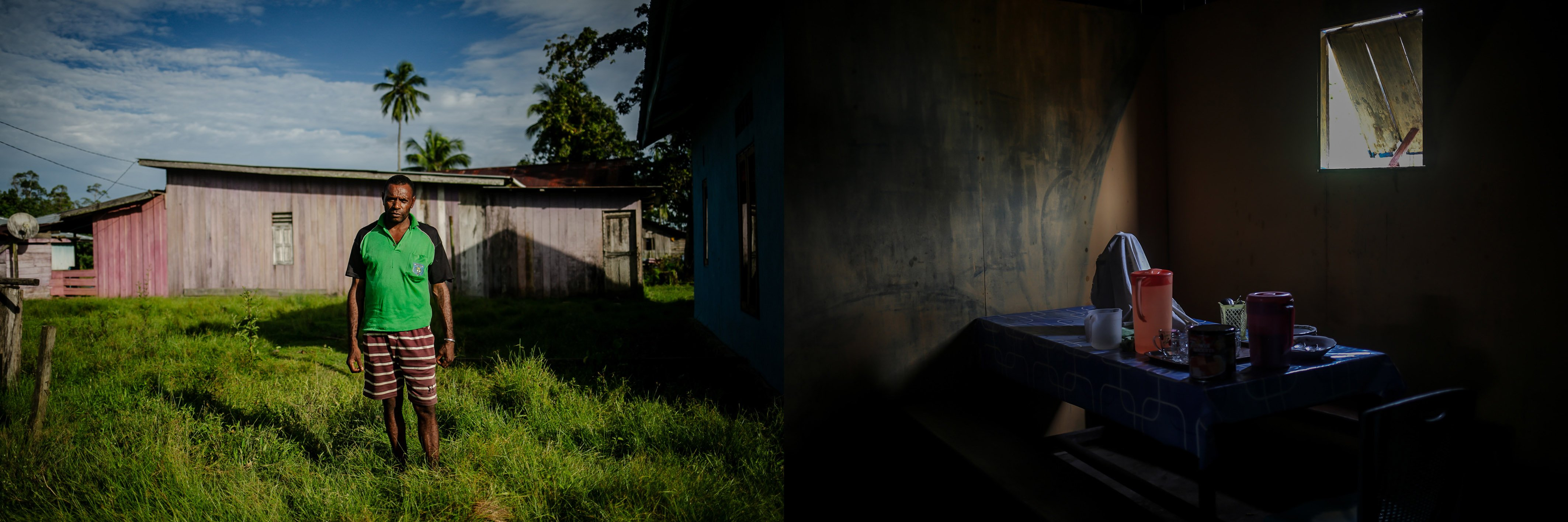 Samuel Ketumlas (48) berdiri di atas tanah adat Suku Moi di Distrik Segun, Kabupaten Sorong, Papua Barat, Minggu, (19/9/2021). Selaku sekretaris kampung adat saya menyatakan tidak akan mengizinkan masuknya industri kelapa sawit disini, mulai dari kami lahir sudah diberi makan dan minum dari hasil hutan adat ini oleh orang tua kami. Dengan janji palsu apapun kami tidak akan menerimanya demi menjaga adat dan keturunan kami di masa depan nanti.