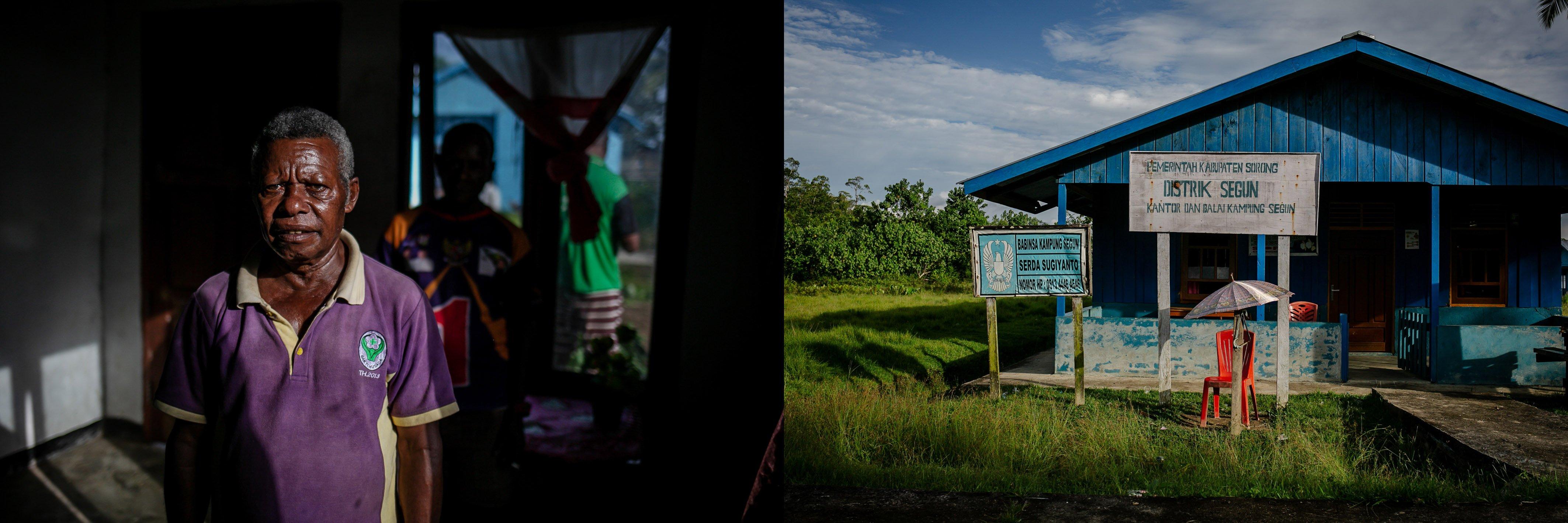 Permenas Hae (56) berpose di dalam rumahnya di Distrik Segun, Kabupaten Sorong, Papua Barat, Minggu, (19/9/2021). Menurutnya Segun merupakan titik lokasi yang terbilang kecil, selama beberapa tahun terakhir beberapa perusahaan terus berdatangan dengan dalih janji akan membawa kami kepada kemajauan dengan dibangunkannya jalan dan anak-anak diberi pendidikan. Sebagai Kepala Kampung saya dan beberap marga yang ada di distrik ini tak akan izinkan perusahaan masuk, karena sawit menurut saya hanya akan membawa k