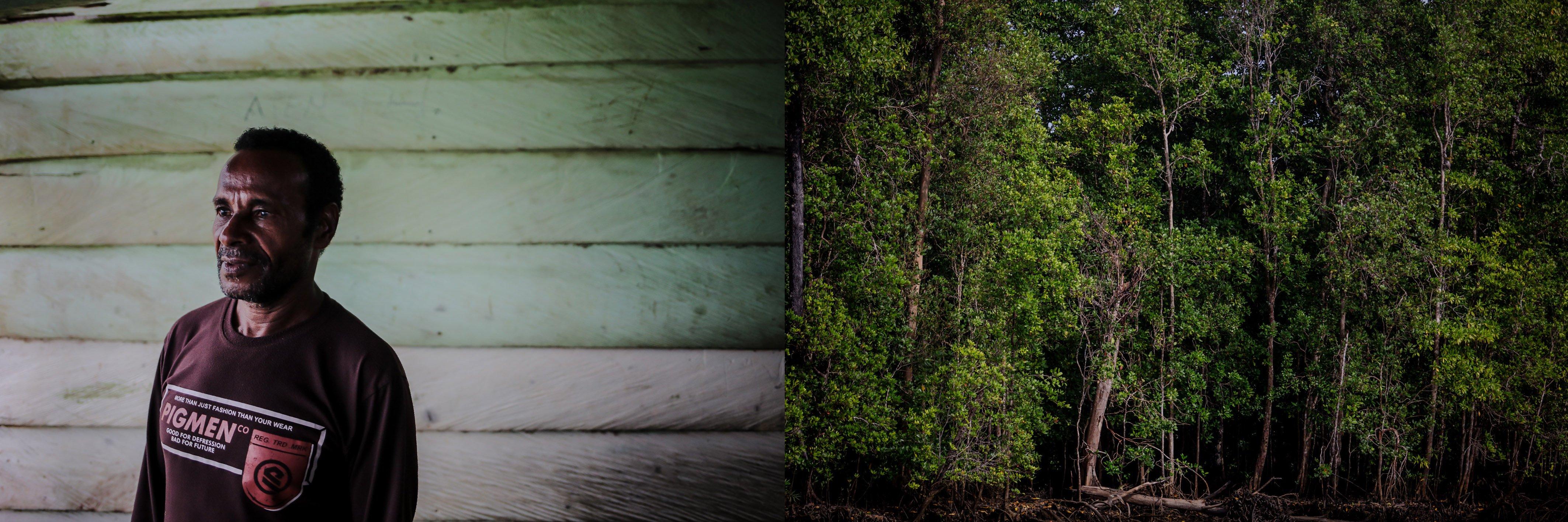 Wenand Kayaru (72) salah satu masyarakat adat Suku Moi di Ditsrik Gisim, Kabupaten Sorong, Papua Barat, Senin, (20/9/2021). Sekitar sepuluh tahun yang lalu ia dan beberapa perwakilan warga adat di Dsitrik Gisim sempat menerima uang dari pihak perusahaan sebesar Rp.500.000.000 untuk dua marga yang diberikan secara berangsur dengan luas lahan 15.000 hektare, saat ini ia berada di dalam ketakutan dan kekhawatiran karena tidak adanya kejelasan dari pihak perusahaan.