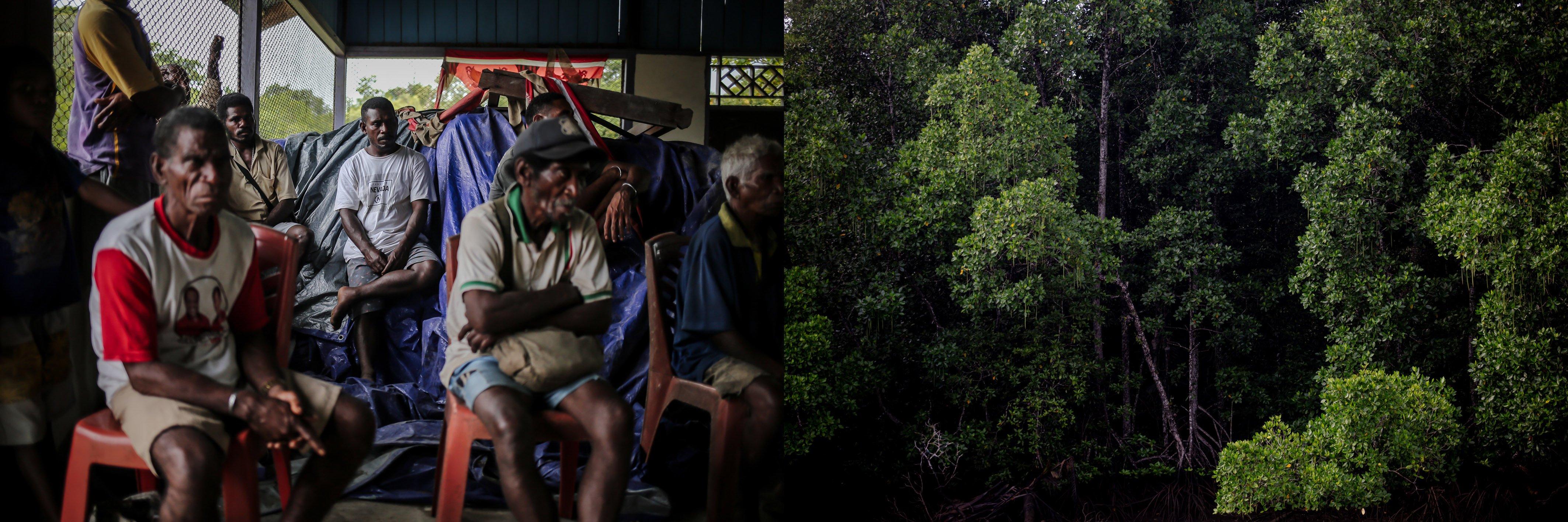 Masyarakat adat Suku Moi berkumpul di sanggar saat musyawarah pemilihan Kepala Kampung di Distrik Waimon, Kabupaten Sorong, Papua Barat, Senin, (20/9/2021). Suku Moi merupakan suku adat terbesar di Kabupaten Sorong, bagi mereka hutan ibarat ibu kandung yang melahirkan dan menyusui, dalam bahasa aseli Moi \
