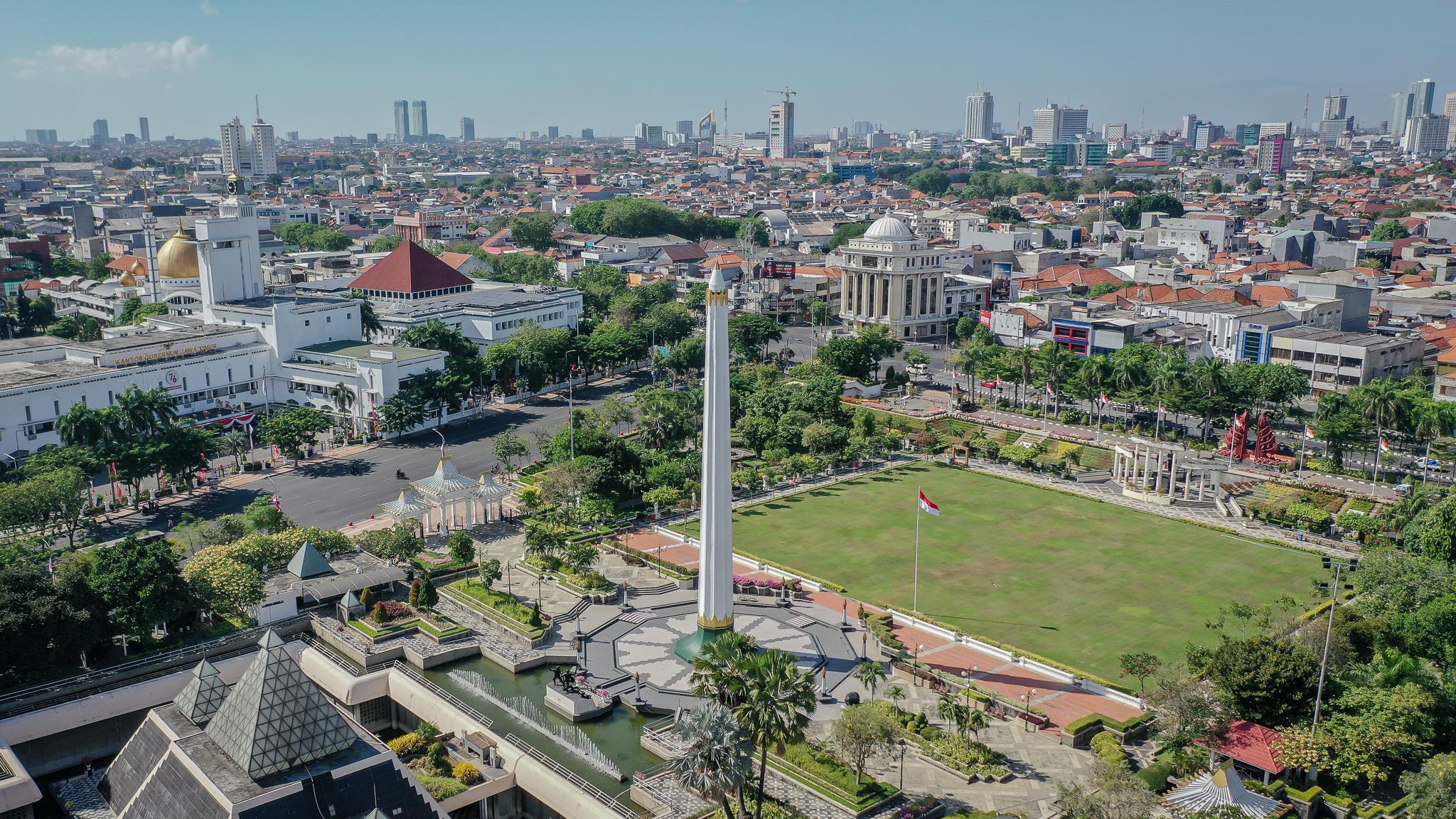 Foto Udara Tugu Pahlawan, Surabaya, Jawa Timur