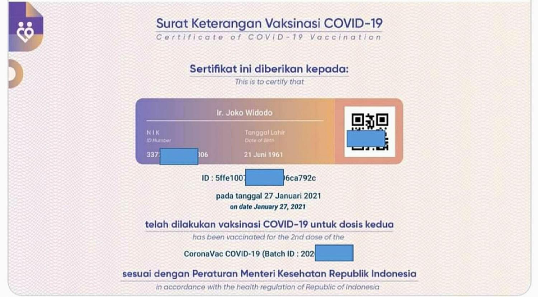 Sertifikat vaksin Presiden Jokowi diduga bocor