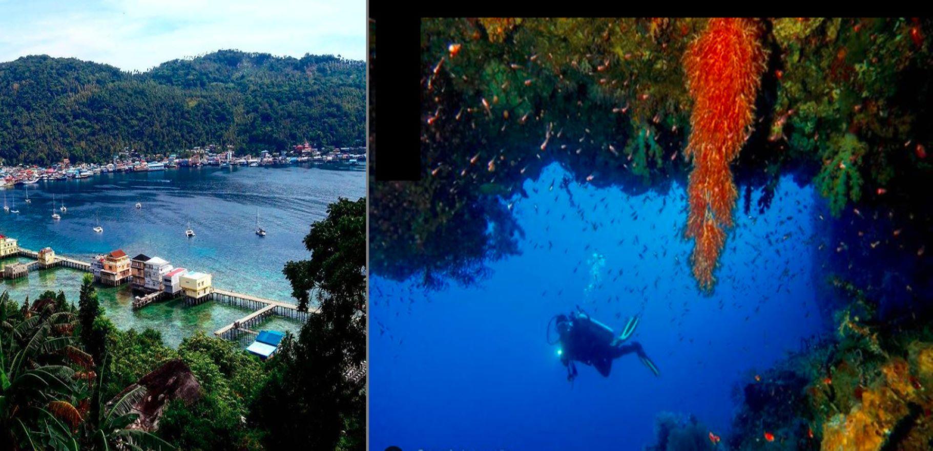 Pesona Pulau Anambas (kiri) dan biota laut Kapoposang