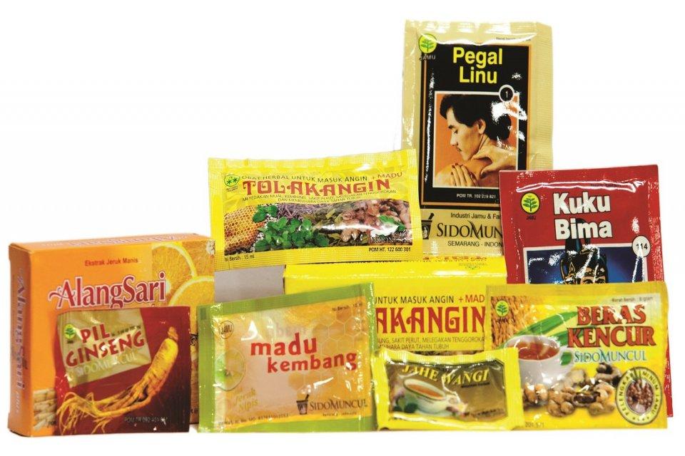 Berbagai jenis jamu produksi PT Sido Muncul.