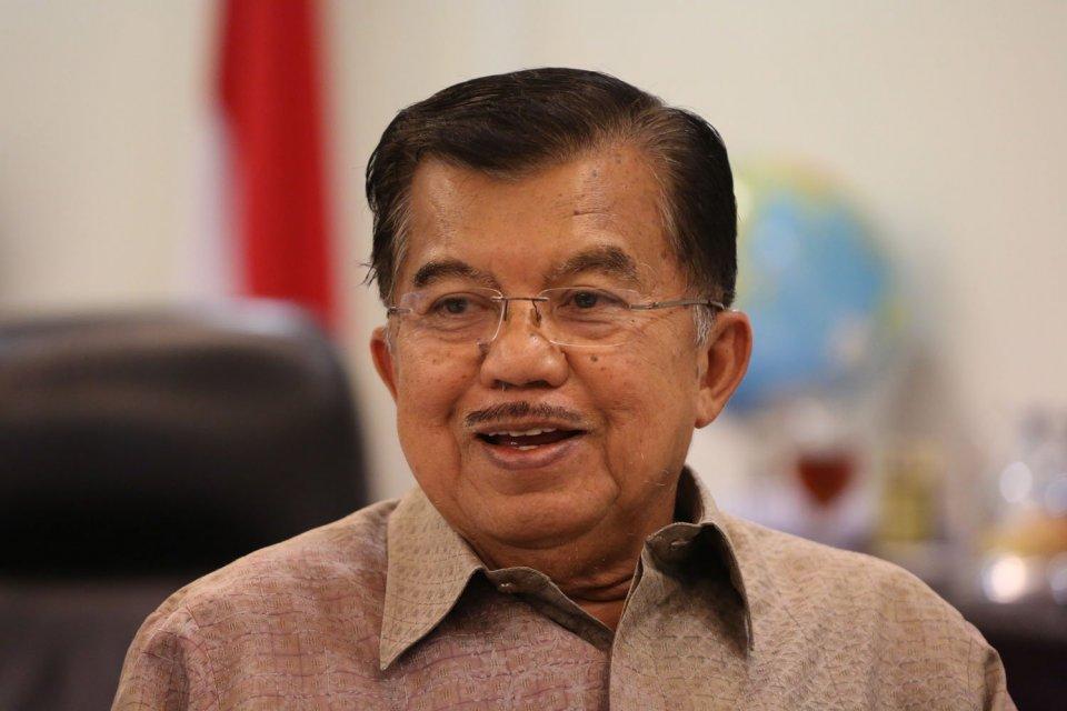 Wakil Presiden Jusuf Kalla (JK) menyampaikan salam perpisahan kepada pengusaha dan kalngan investor dalam sambutan Trade Expo Indonesia (TEI) di BSD, Serpong, Tangerang Selatan.