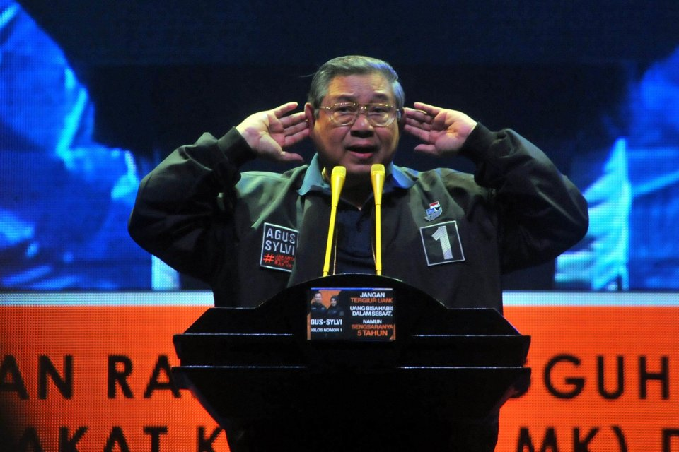 Ketua Umum Partai Demokrat Susilo Bambang Yudhoyono (SBY). Istruksi SBY kepada kader Demokrat agar tak bertindak melawan konstitusi.