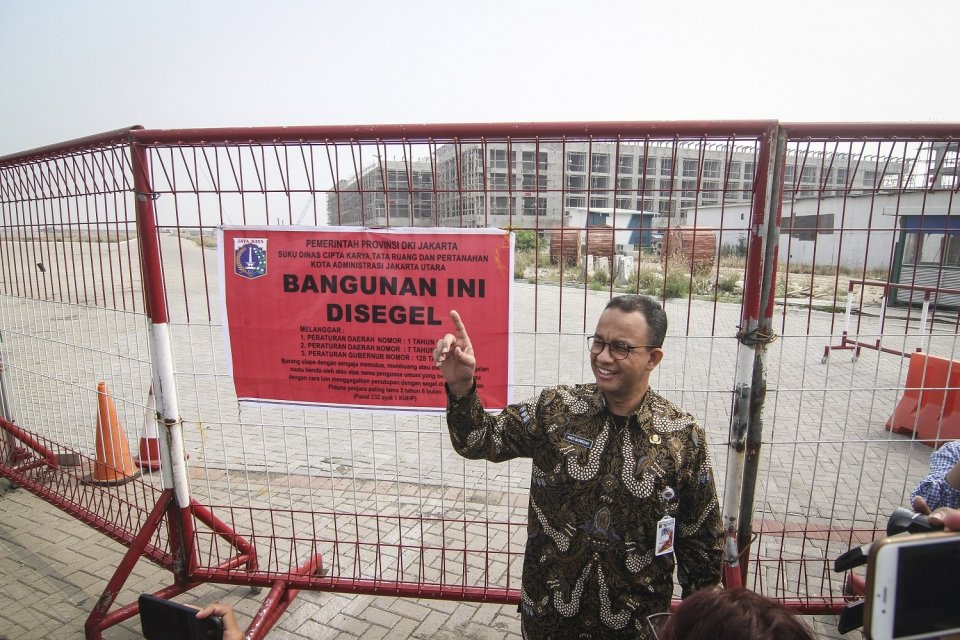 Anies Baswedan saat penyegelan di Pulau D