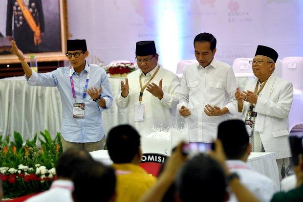 Jokowi- Ma'ruf Amin serta Prabowo-Sandiaga