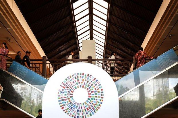Para peserta AM IMF - World Bank 2018 mulai memadati setiap gedung penyelenggaraan yang ada di Nusa Dua, Bali (8/10). Indonesia menjadi tuan rumah IMF-World Bank 2018 setelah menyiapkan proposal pada 2014 lalu.