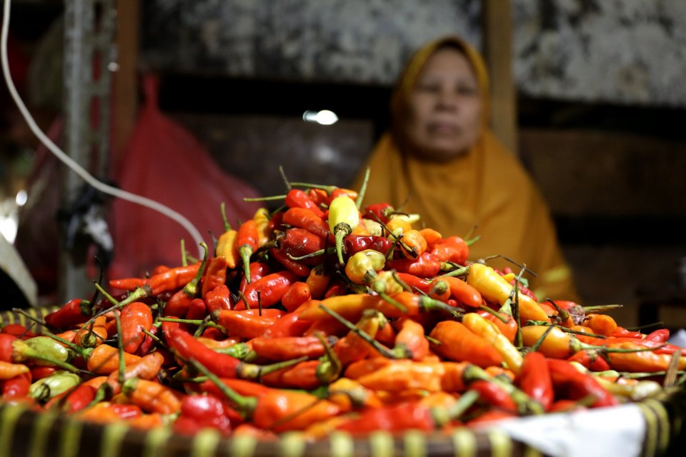 Penampakan cabai di pasar Benhil, Jakarta Pusat. Pemerintah masih mencari cara untuk menstabilkan harga cabai di pasar. Saat ini harga cabai mencapai Rp 60/650 per kg untuk cabai merah keriting.