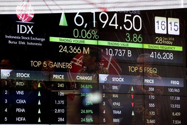 Presiden Joko Widodo (dua dari kanan) secara resmi melakukan penutupan perdagangan pasar modal seiring berakhirnya 2018 di PT. Bursa Efek Indonesia (BEI), Jakarta Selatan (28/12). Penutupan tersebut dihadiri Menteri Koordinator bidang Perekonomian Darmin