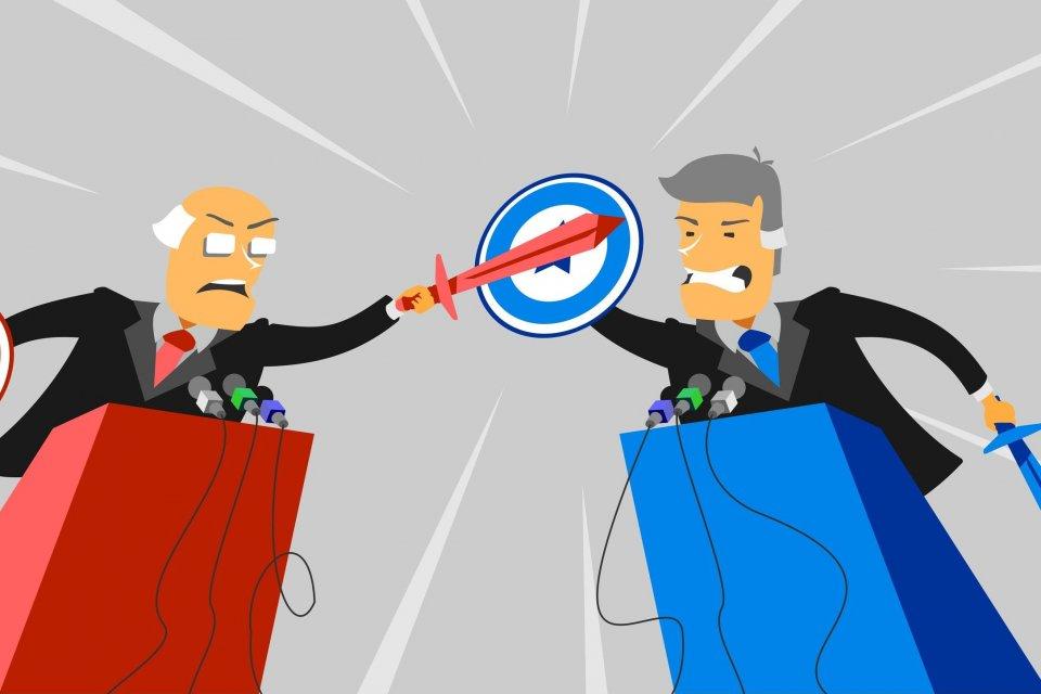 Ilustrasi debat politik antara dua kubu yang berbeda.