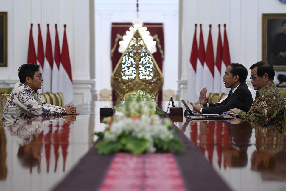 Presiden Joko Widodo bertemu CEO Bukalapak Achmad Zaky