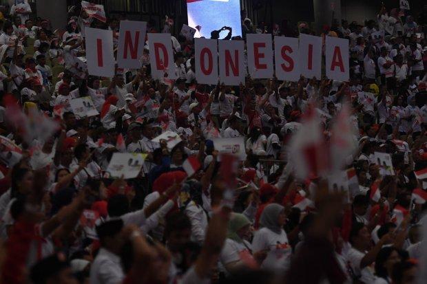 Pendukung pasangan calon nomor urut 01 Joko Widodo-Ma'ruf Amin di SICC, Jabar