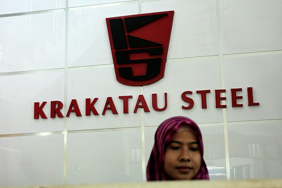 Logo Krakatau Steel di Cilegon, Rabu, (26/11).