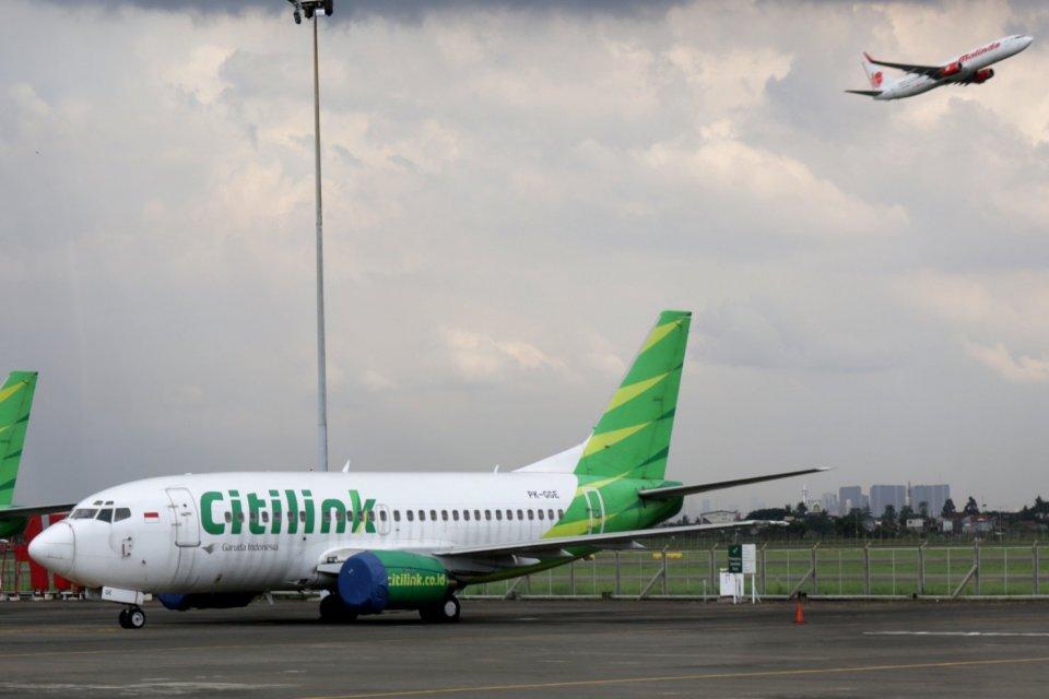 Pesawat Citilink di Hangar GMF, Tanggerang, Banten (2/3). Saat ini Garuda Indonesia mengoperasi 24 pesawat berbadan lebar Aibus A330 sementara unit biaya rendahnya Citilink mengoperasikan 51 unit A320.