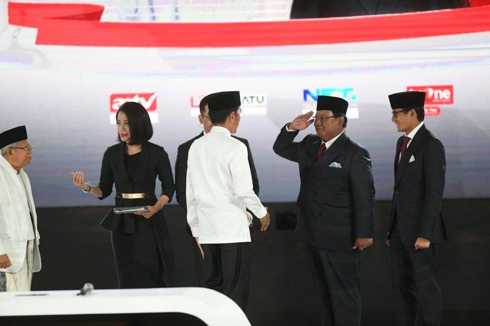 Prabowo, Jokowi, Ma\'ruf Amin, Sandiaga, pilpres 2019, pemilu 2019, debat pilpres, ekonomi, data hasil survei
