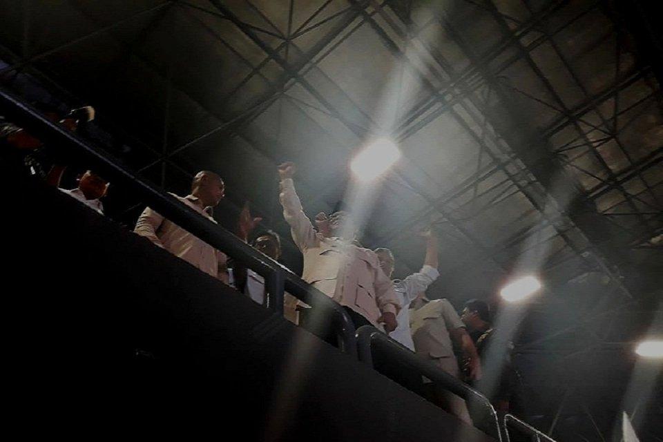 Prabowo saat menghadiri peringatan hari buruh di Tennis Indoor Senayan, Jakarta, Rabu (1/5).