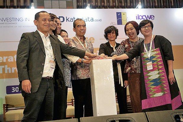 Suasana event Investing in Woman dengan tema Accelerating The Indonesian Economy Through Gender Equality di Jakarta, Selasa, (30/4/2019)