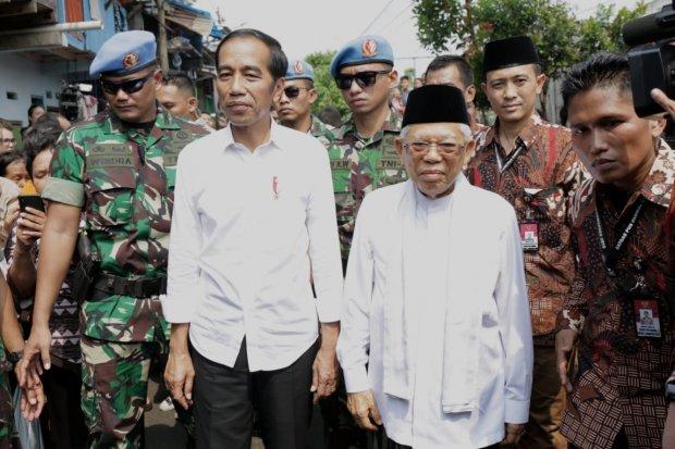 pidato kemenangan Jokowi-Maruf di kampung deret