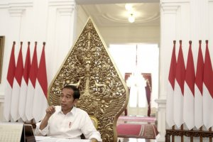 Presiden Jokowi saat wawancara khusus dengan Katadata.co.id, di Istana Merdeka, Jakarta, Senin (27/5/2019).
