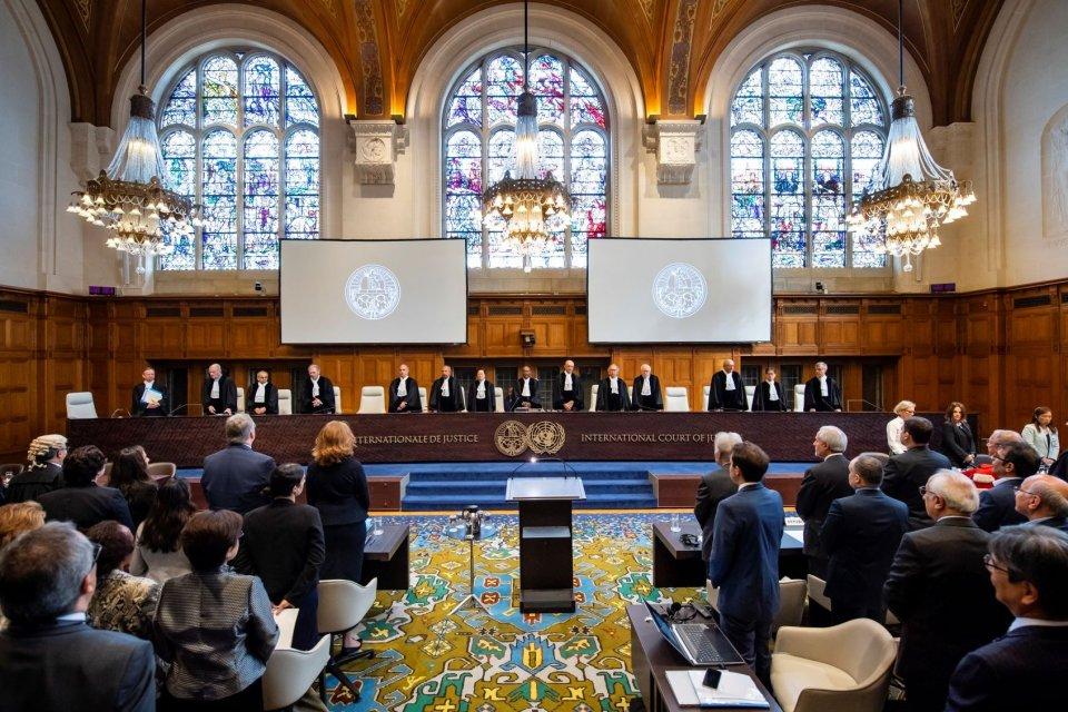 Suasana sidang di Mahkamah Internasional pada 27 Agustus 2018.
