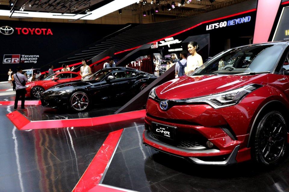Ilustrasi mobil Toyota di Gaikindo Indonesia International Auto Show (GIIAS) 2019 di Gedung Nusantara 2, ICE BSD, Tangerang, Banten (18/7/2019).