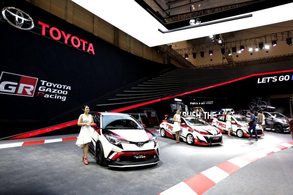 Ilustrasi mobil Toyota di Gaikindo Indonesia International Auto Show (GIIAS) 2019 di ICE BSD, Tangerang, Banten (18/7/2019).