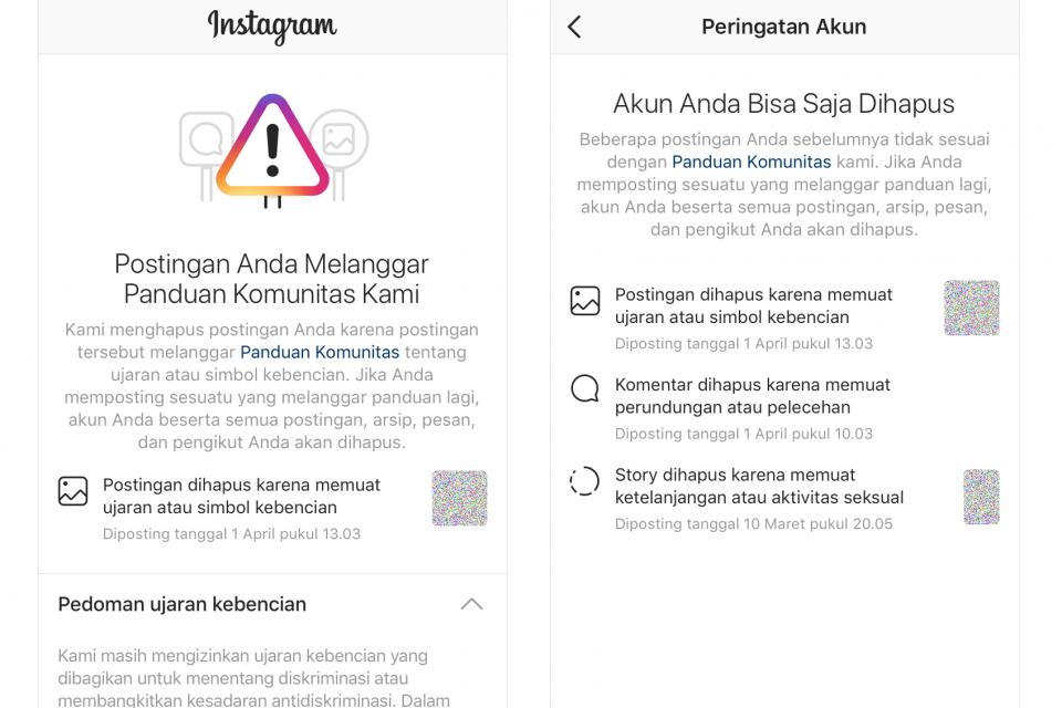 Ilustrasi, Instagram mengirimkan notifikasi kepada pengguna bahwa akunnya berpotensi dihapus.
