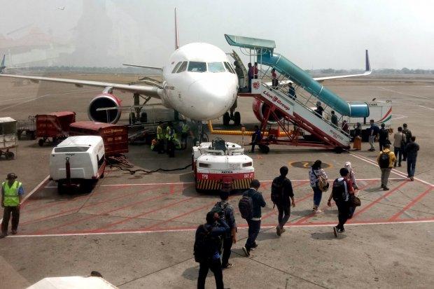 Pesawat Batik Air di Bandar Udara Internasional Soekarno–Hatta, Tangerang, Banten (22/7).