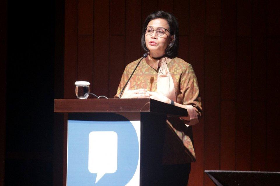 Sri Mulyani selaku Menteri Keuangan Indonesia dalam acara Knowledge sector Intiative Katadata forum dengan tema \