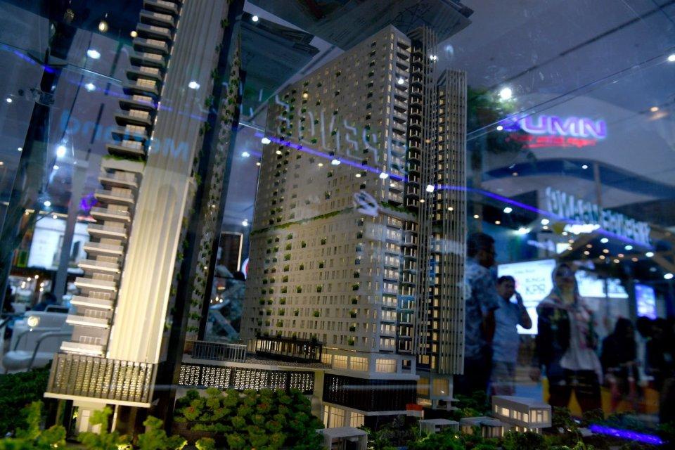 Ilustrasi pameran properti. Saham PT Agung Podomoro Land Tbk (APLN) pada perdagangan hari ini, Jumat (16/8) anjlok setelah perusahaan berisiko tidak dapat membayar utang-utangnya.