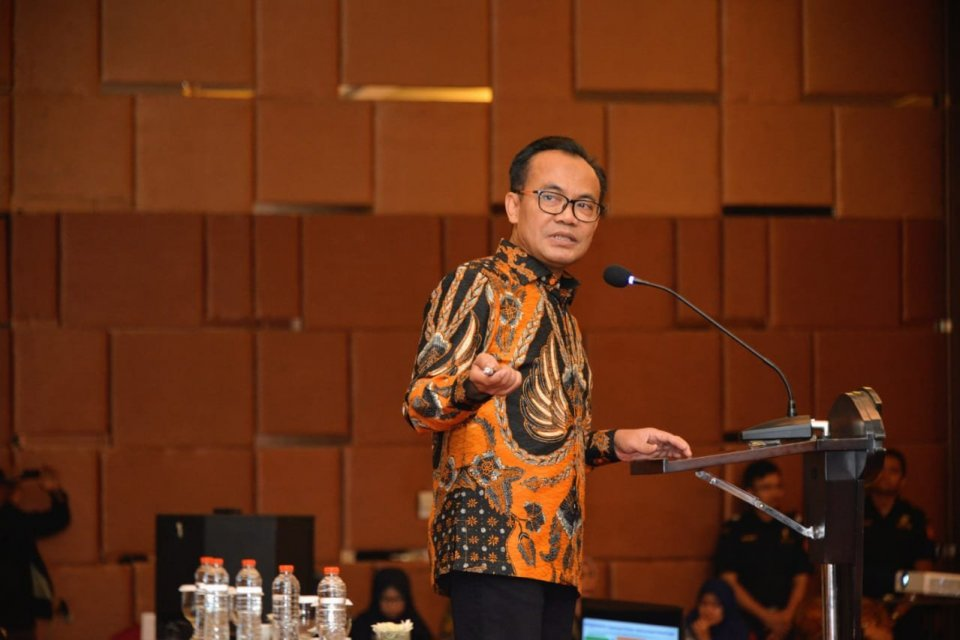 Sekretaris Kemenko Perekonomian Susiwijono dalam diskusi bertema 'Pengembangan Hortikultura untuk Peningkatan Ekspor dan Ekonomi Daerah' di Madiun, Senin (12/8)