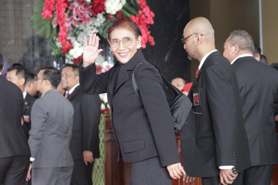 Susi Pudjiastuti selaku Menteri Kelautan dan Perikanan dalam sidang tahunan MPR RI sidang beraama DPR RI - DPD RI dalam sidang DPR RAPBN 2020 di gedung Nusantara 2, DPR, Jakarta Pusat (16/8).