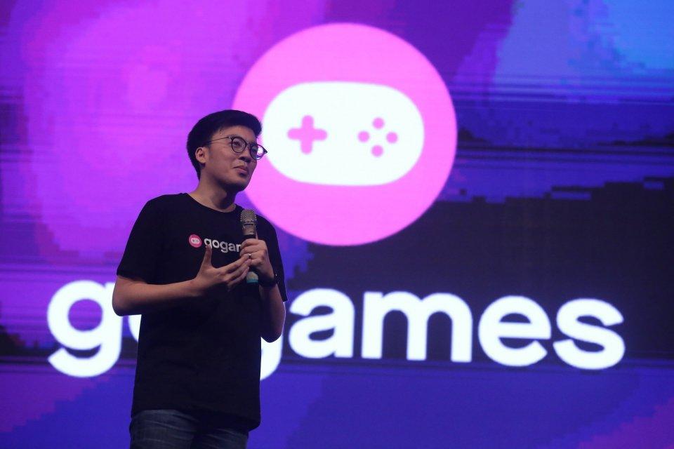 Co-Founder Gojek Kevin Aluwi saat menjelaskan GoGames di Jakarta, Minggu (8/9). Ia menyebutkan, pemain gim di Indonesia mencapai 60 juta tahun lalu.