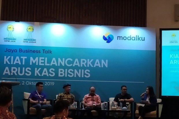 Para pembiacara dalam diskusi bertajuk 'Kiat Melancarkan Arus Kas Bisnis' di Jakarta, Rabu (2/10). Riset Bank of America menunjukkan, pengusaha yang merencanakan arus kas secara bulanan bisa menjaga keberlangsungan bisnisnya hingga 80%.