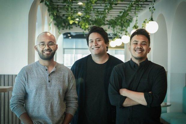 (kiri ke kanan) CEO & Co-Founder Sampingan Wisnu Nugrahadi, CCO & Co-Founder Sampingan Margana Mohamad, dan Co-Founder Sampingan Dimas Pramudya Putra. Startup Sampingan dapat suntikan modal US$ 1,5 juta.