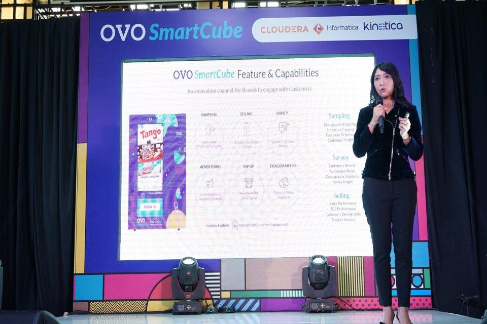 Chief Data Officer OVO Vira Shanty saat menyampaikan data dari OVO Smartcube. Unicorn Tanah Air, PT Visionet Internasional (OVO) meluncurkan mesin jual otomatis berbasis digital (smart vending machine), bernama OVO Smartcube.