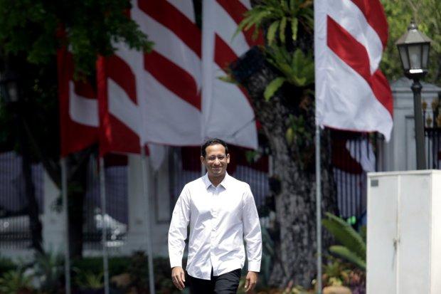 CEO Go-Jek, Nadiem Anwar Makarimmendatangi Istana Kepresidenan, Jakarta (21/10/2019).