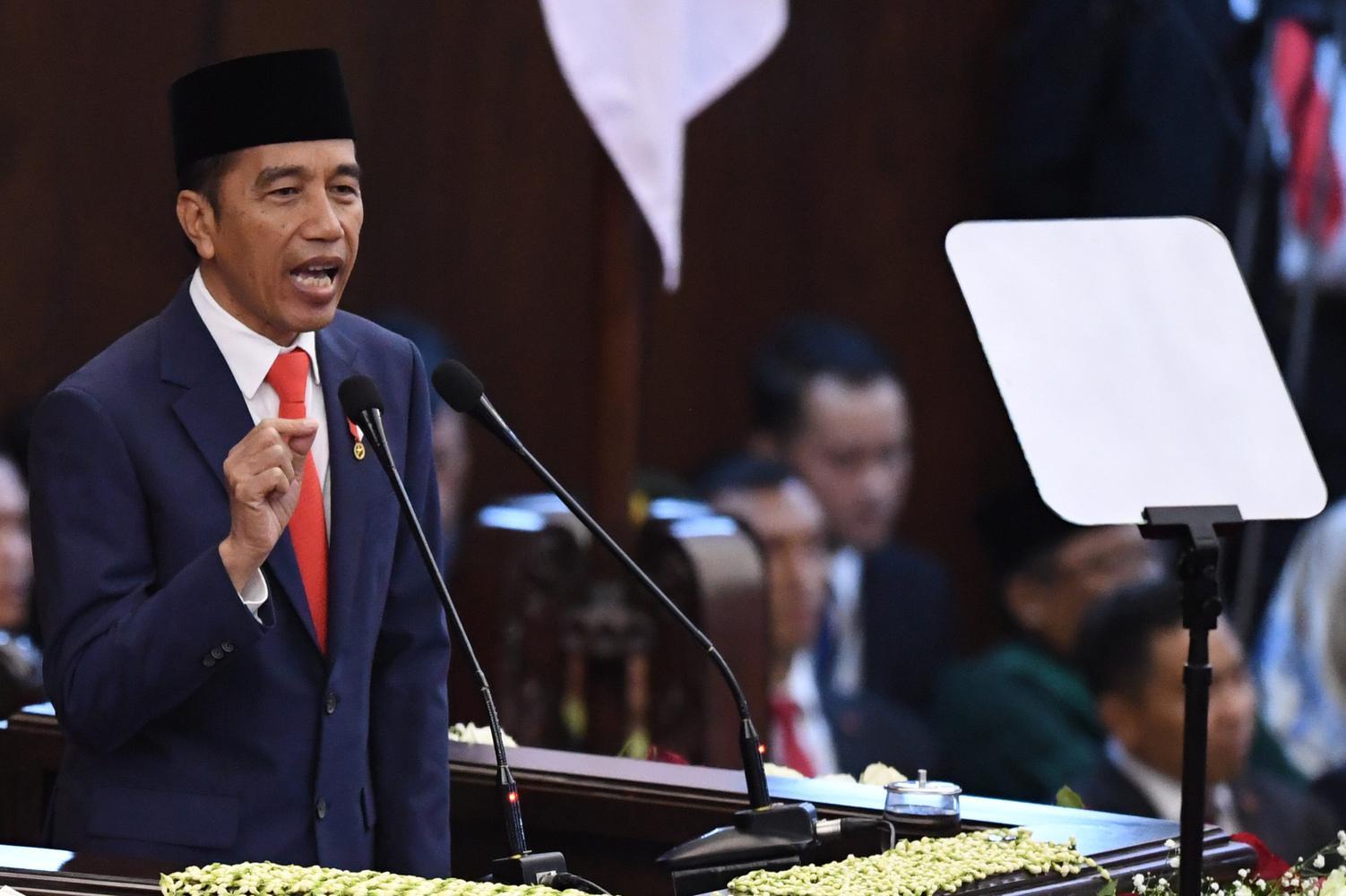 Presiden Joko Widodo berpidato usai dilantik menjadi presiden periode 2019-2024 di Gedung Nusantara, kompleks Parlemen, Senayan, Jakarta, Minggu (20/10/2019).